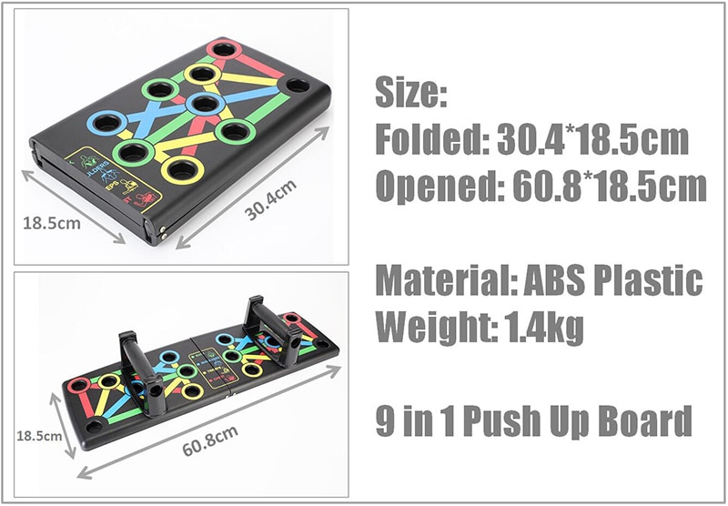 9 in 1 Push Up Board with Instruction Print Body Building Fitness Exercise Tools Men Women Push-up Stands For GYM Body Training
