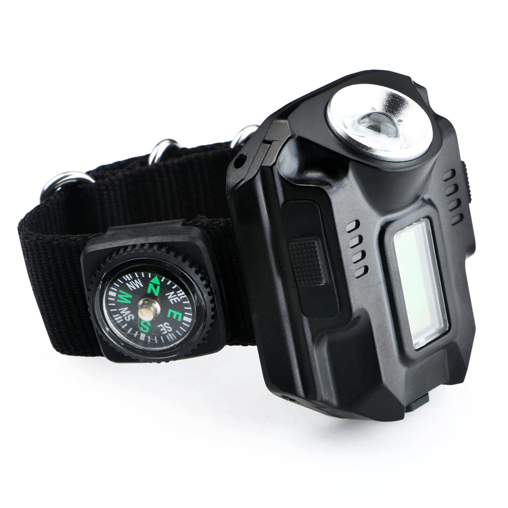 Powerful led Flashlight Tactical LED Display Rechargeable Wrist Watch Flashlight Waterproof Torch With clock mini-compass
