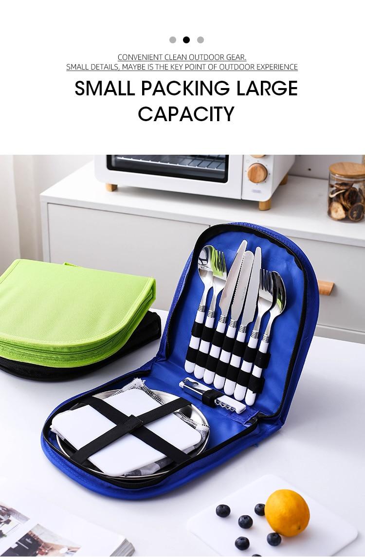 Outdoor Picnic Camping Tableware Fork Spoon Knife Bottle Opener Stainless Steel Foldable Pocket Tableware Set Hike Kitchen Tools
