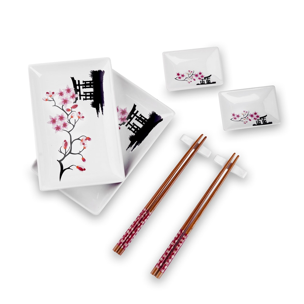 Panbado Japanese Style Flower Porcelain Sushi Plate Set with 2XSushi Plates,Dip Dishes,Stick Stand,Bamboo Chopsticks Gift Box