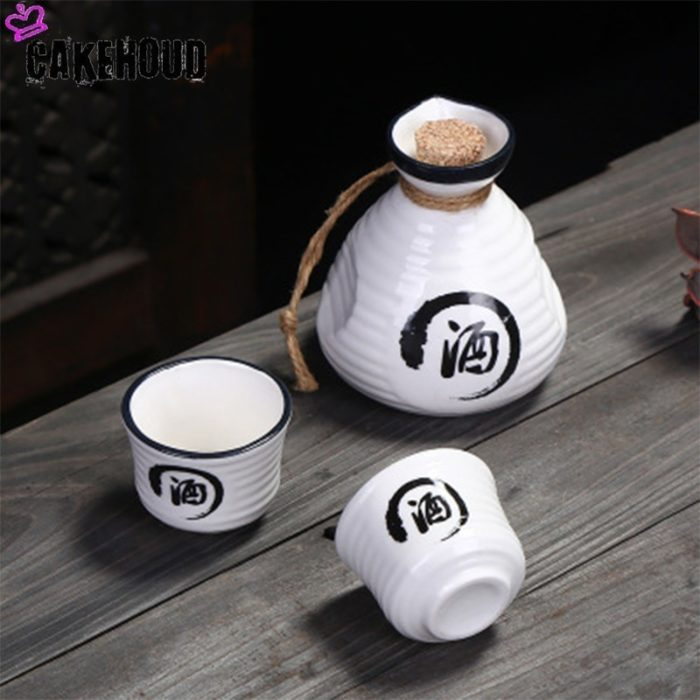 Ceramic Sake Pot with Two Cups