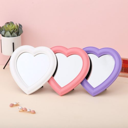 Pink Heart Mirror with Stand