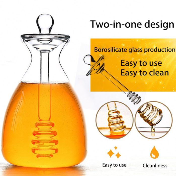 Glass 500ml Honey Pot with Dipper