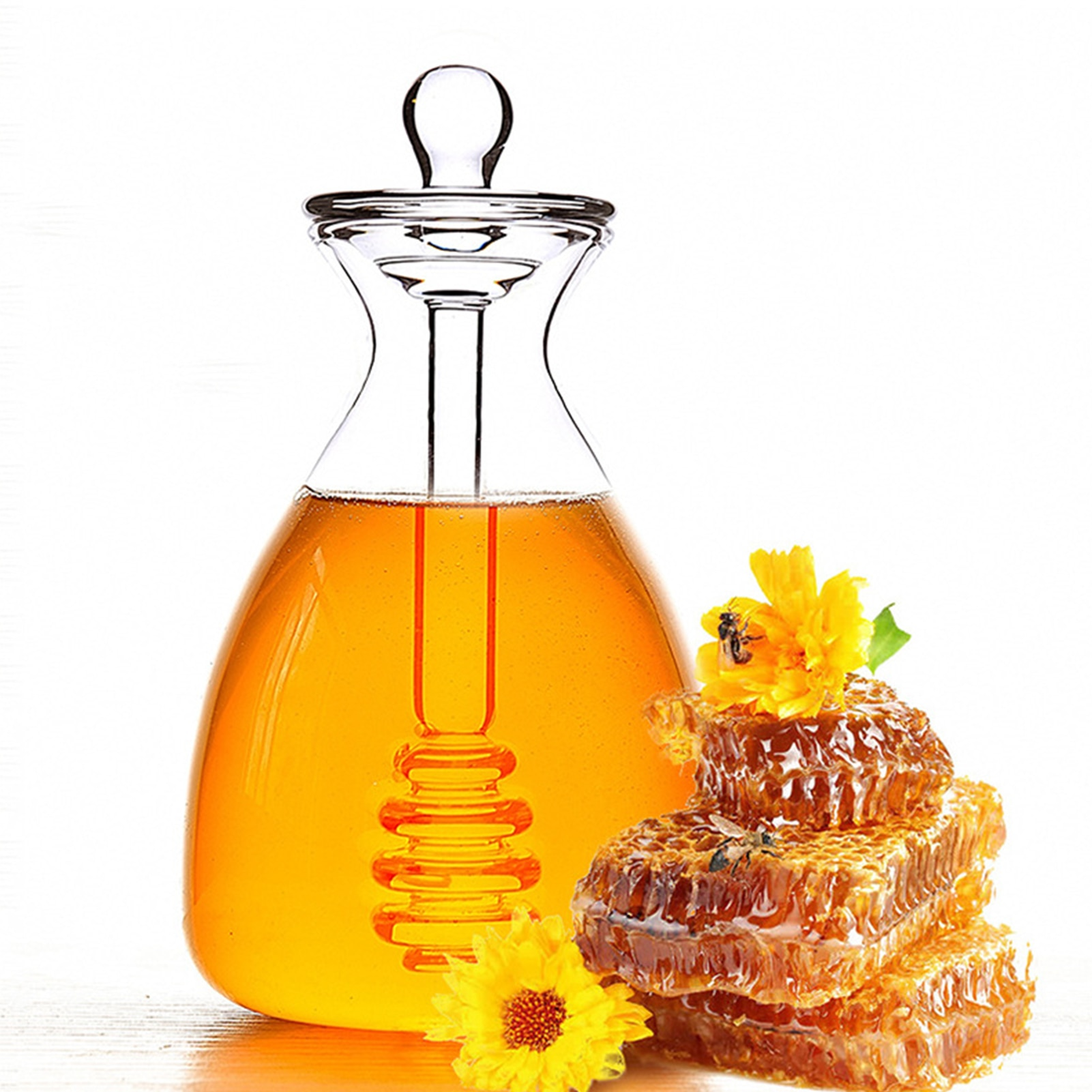 500ML Handmade Honey Jar With Dipper Glass Honey Pot Lid And The Stirring Rod Are Integrated Kitchen Gadget