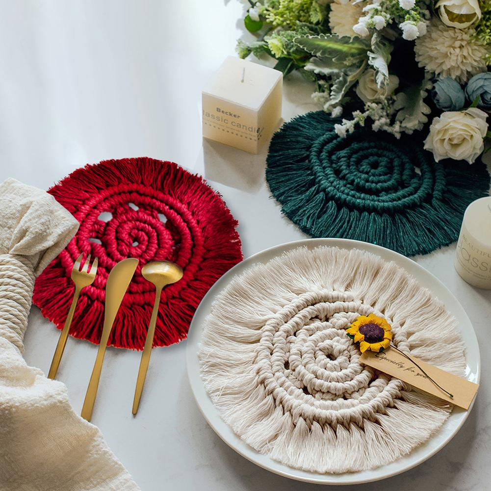 Coaster Cotton Woven Cup Pad Pot Mat Table Mats Placemats Coasters Non-slip Insulation Mats With Tassels Handmade Coffee Cup Mat