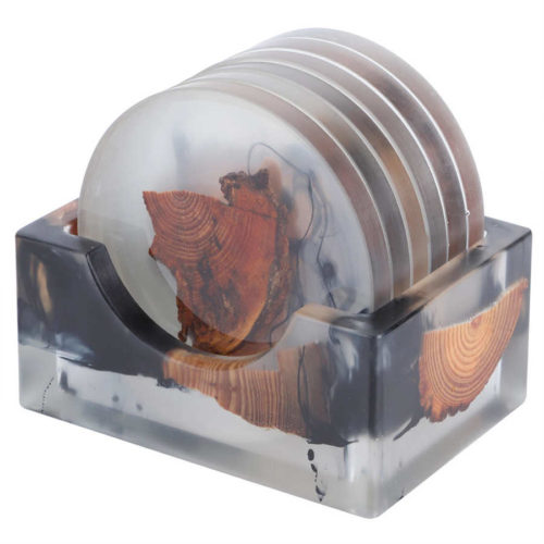 Wood Resin Coasters Pad Set (6 Pcs)