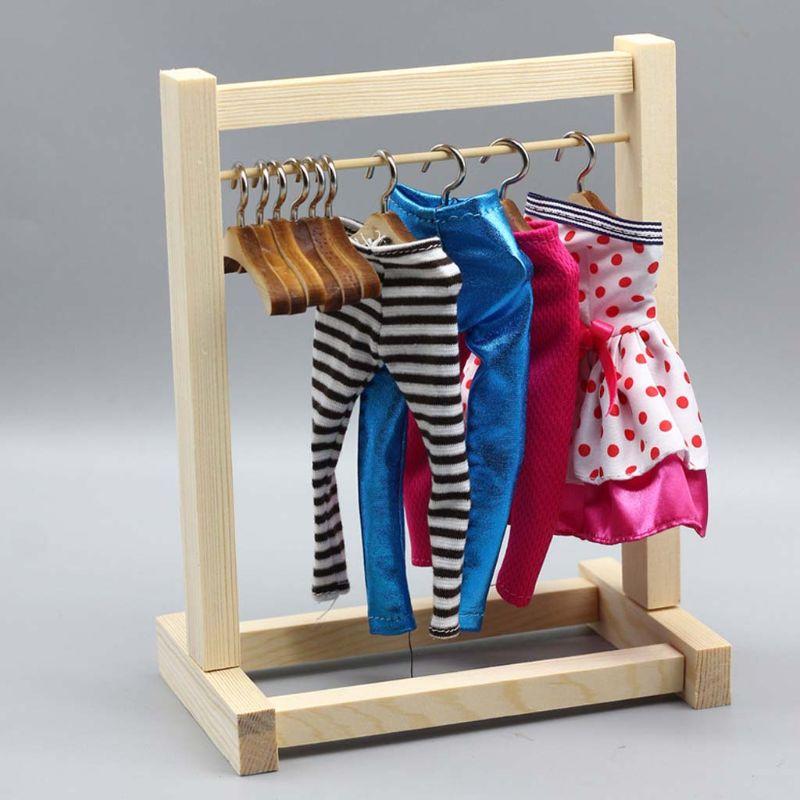 Doll Wooden Clothes Rack Garment Organizer Hangers for Dolls Handbag Clothes