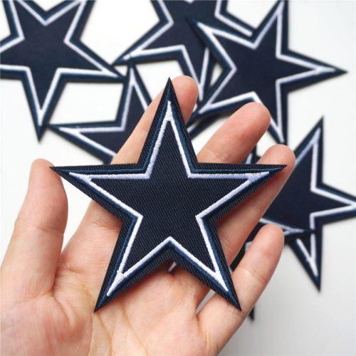 Navy Blue White Edge Star Patches (10Pcs.)