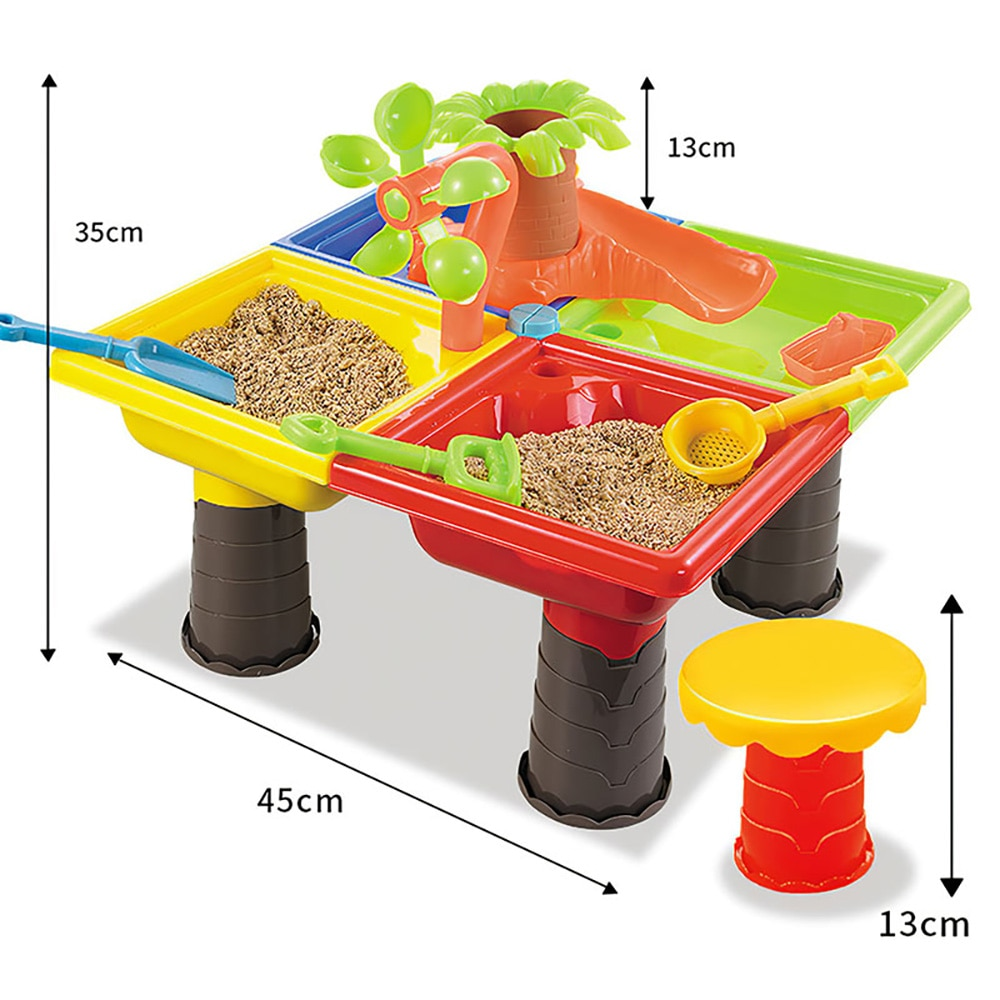 Children'S Beach Table Play Sand Pool Set Indoor Baby Play Water Dredging Tool Outdoor Beach Game Toys For Kids