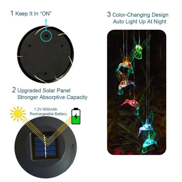 Hanging Solar Powered Hummingbird Lights