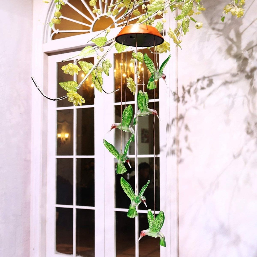 Color Changing LED Solar Power Lamp Hummingbird Wind Chimes Garden Decoration Yard Waterproof LED Light Lighting Hanging Decor