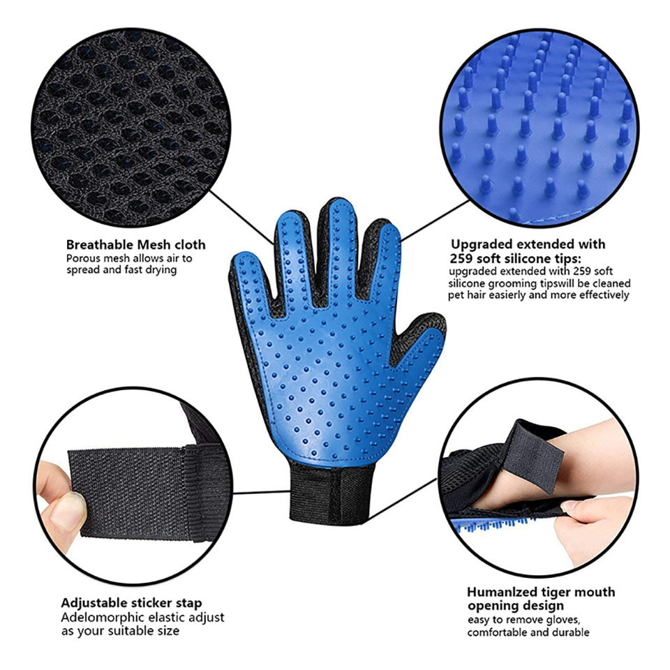 Dog Pet Grooming Glove Silicone Cats Brush Comb Deshedding Hair Gloves Dogs Bath Cleaning Supplies Animal Combs by PROSTORMER