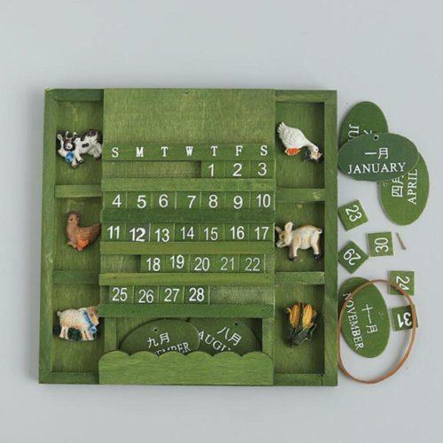 Hanging Wooden Perpetual Wall Calendar