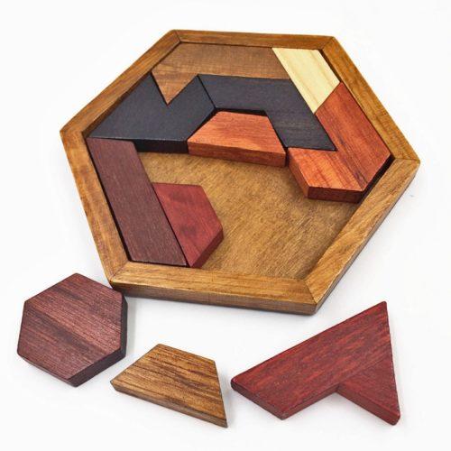 Wooden Brain Teaser Hexagon Puzzle