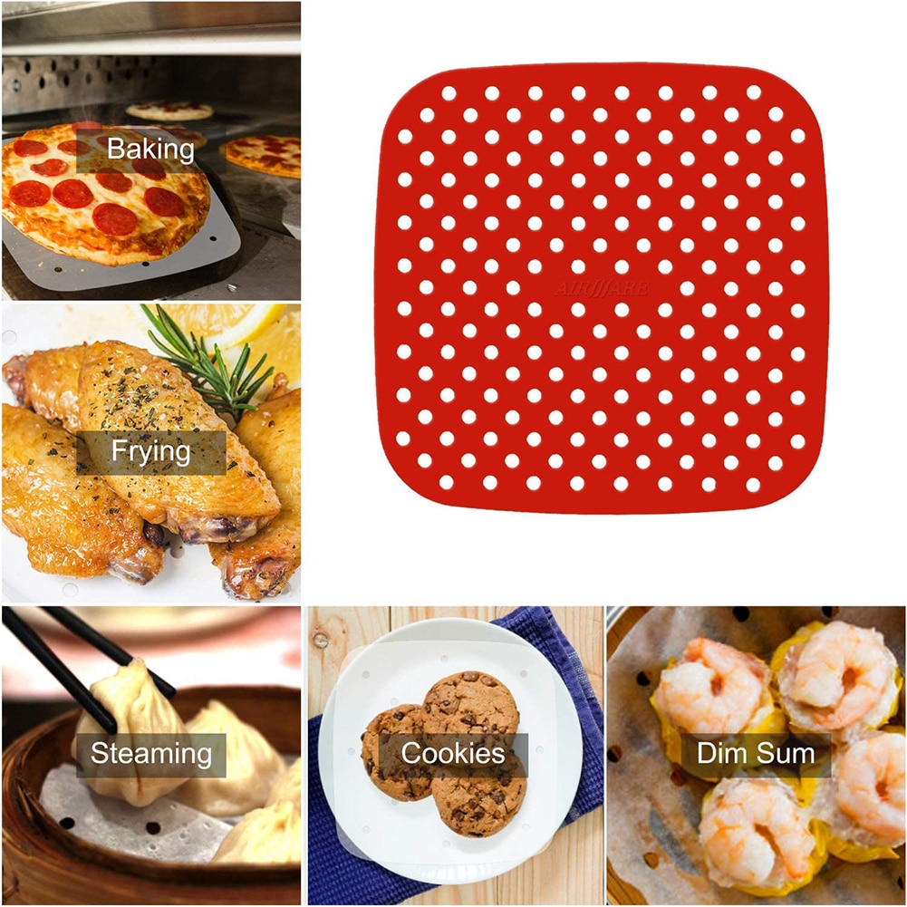 Silicone Air Fryer Liners 7.5in Reusable Square Air Fryer Basket Mats Non-Stick Baking Paper Sheets Kitchen Gadgets Accessories