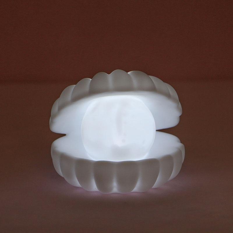 Ceramic Shell Pearl Night Light Streamer Mermaid Fairy Shell Night Lamp for Bedside Home Decoration Xmas Gift