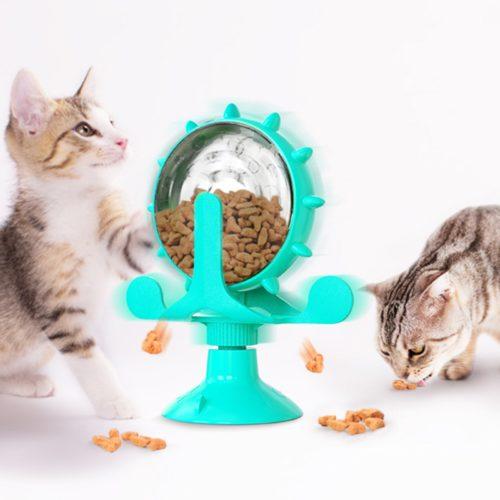 Rotating Wheel Cat Treat Dispenser Toy