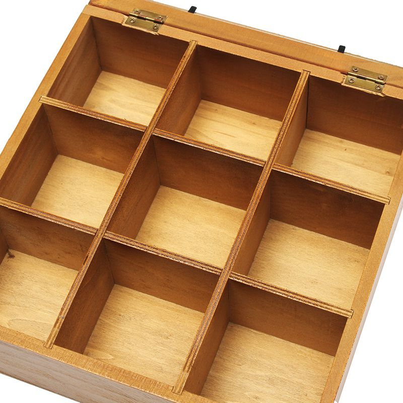9 Section Wooden Chic Tea Box Compartments Container Bag Chest Storage Spice New Store Boxes Cosmetics Jewelly 24 X 24 X 7cm