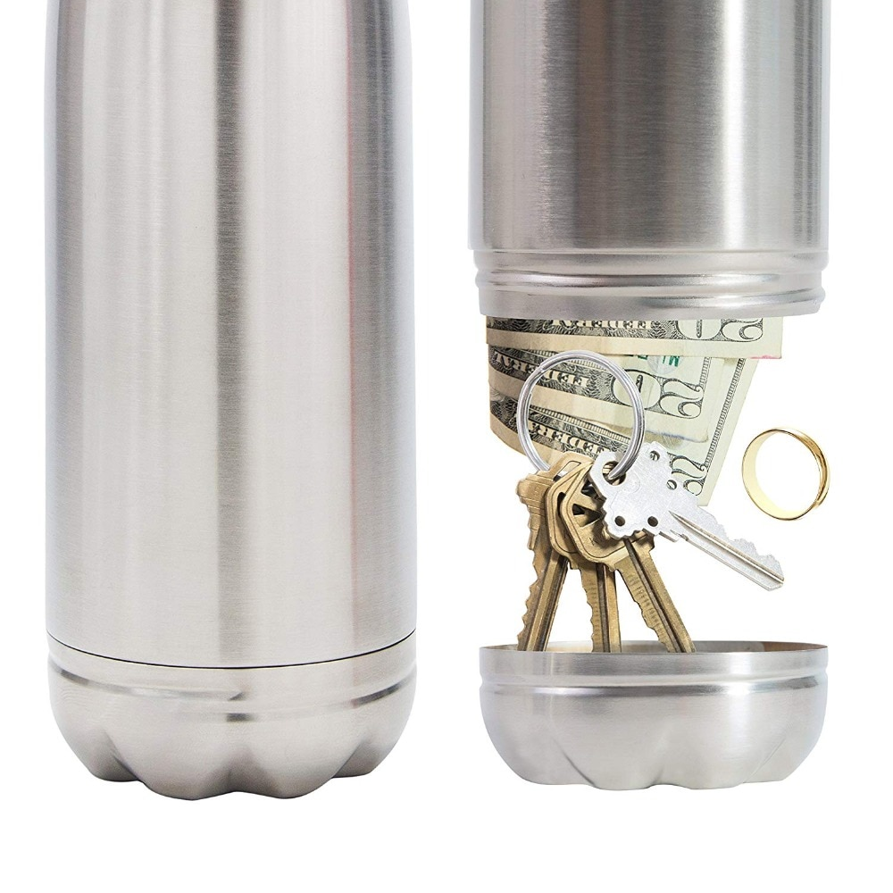Diversion Water Bottle Can Safe Stainless Steel Tumbler Safe with a Food Grade Smell Proof Bag Bottom Unscrews to Store