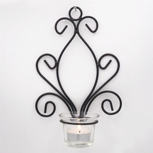 Metal Wall Candle Holder with Glass