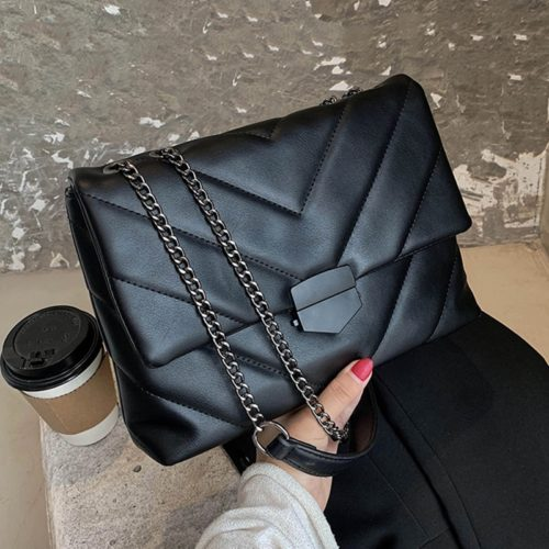 Ladies Leather Sling Bag with Chain Strap