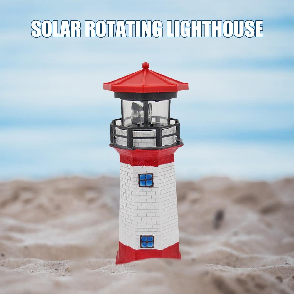 Lighthouse Shape Solar LED Light Garden Fence Yard Outdoor Decoration Smart Sensor Beacon Rotating Lamp for Courtyard Decoration