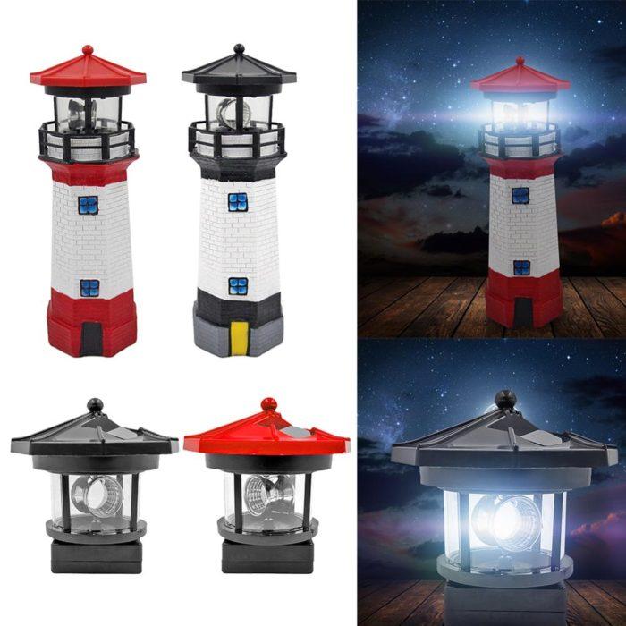 Rotating Solar Lighthouse for Garden