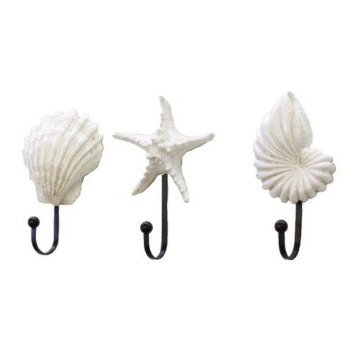 White Resin Sea Shell Hooks (3pc)