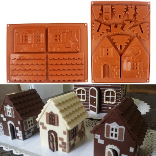3D Gingerbread House Silicone Mold