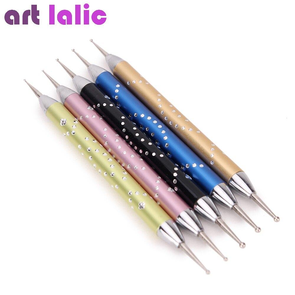 5Pcs/Set Nail Art Dotting Pen Double-head Nail Dotting Marbleizing Metal Manicure Polish Dot Painting DIY Design Fingernail Tool