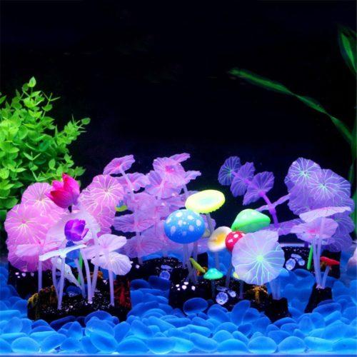Fluorescent Mushroom Aquarium Decor