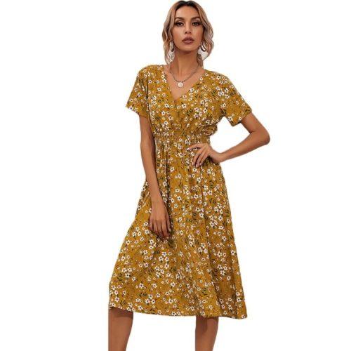 Casual V-Neck Short Sleeve Floral Midi Dress