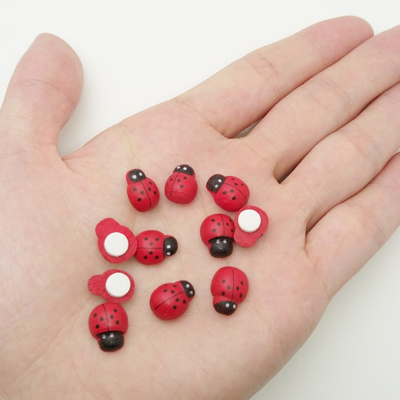 100pcs Mini Ladybug Sponge Self-adhesive Stickers Decor Fridge Magnets for Scrapbooking Decoration Home Office Garden Decoration