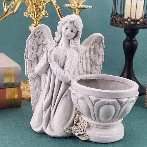Resin Praying Angel Candle Holder