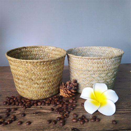 Round Rattan Basket Handwoven Container