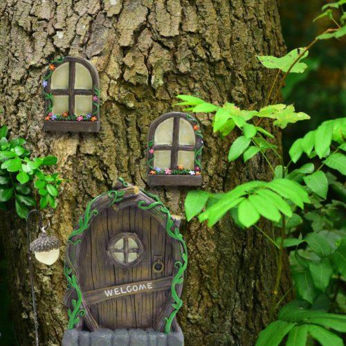 Elf Door for Tree with Two Windows