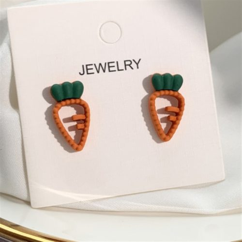 Carrot Earrings Cute Ladies Jewelry