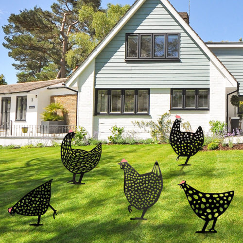 Retro Metal Chicken Garden Ornament