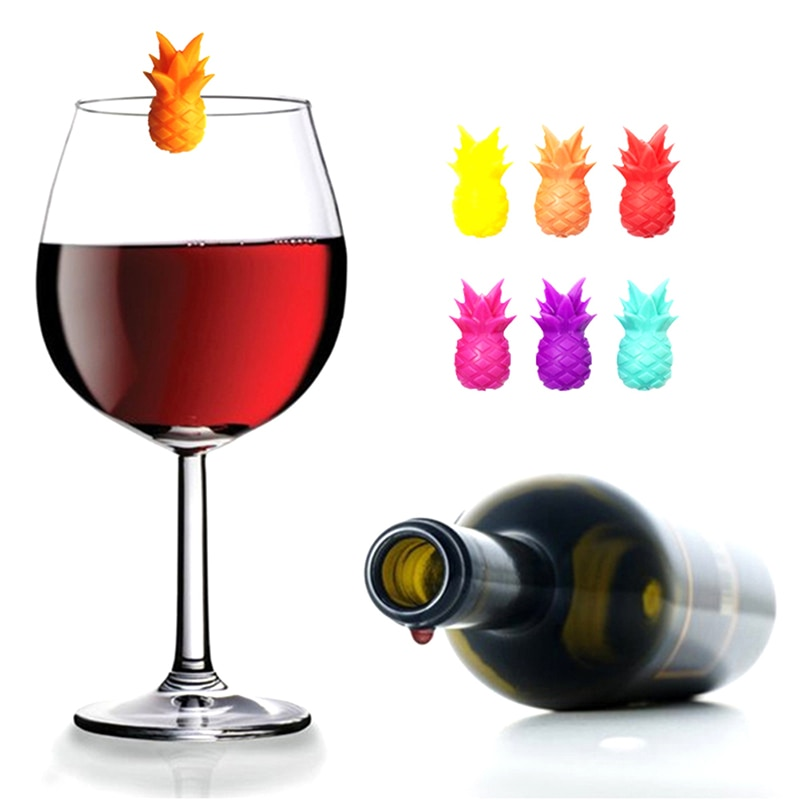 Silicone Party Wine Glass Marker Charms 6pcs Drinking Buddy Cup Identification Cup Identifier Cup Label Tag Sign Mark