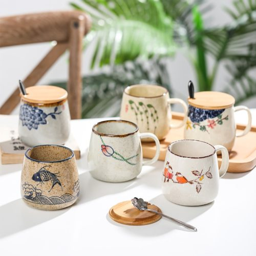 Ceramic Mug with Lid and Spoon