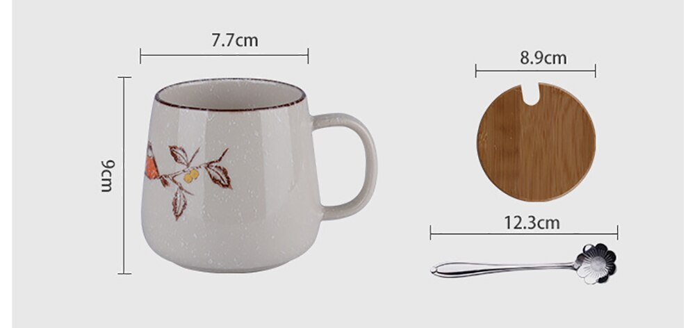 Vintage Coffee Mug Unique Japanese Retro Style Ceramic Cups, 380ml Kiln Change Clay Breakfast Cup Creative Gift for Friends