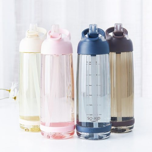 Water Drink Bottle with Straw