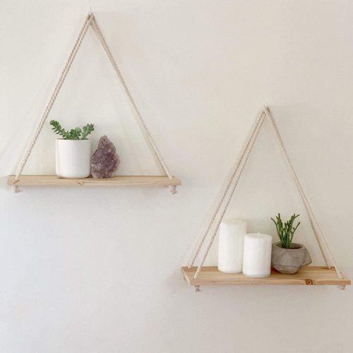 Rope Wall Shelf Wood Hanging Decor