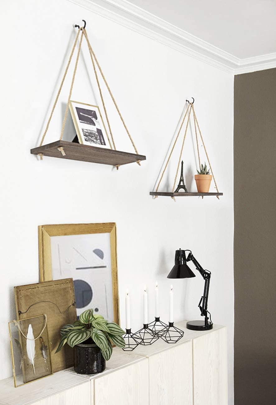 Premium Wood Swing Hanging Rope Wall Mounted Shelves Plant Flower Pot Rack Indoor Outdoor Decoration Simple Design Shelves