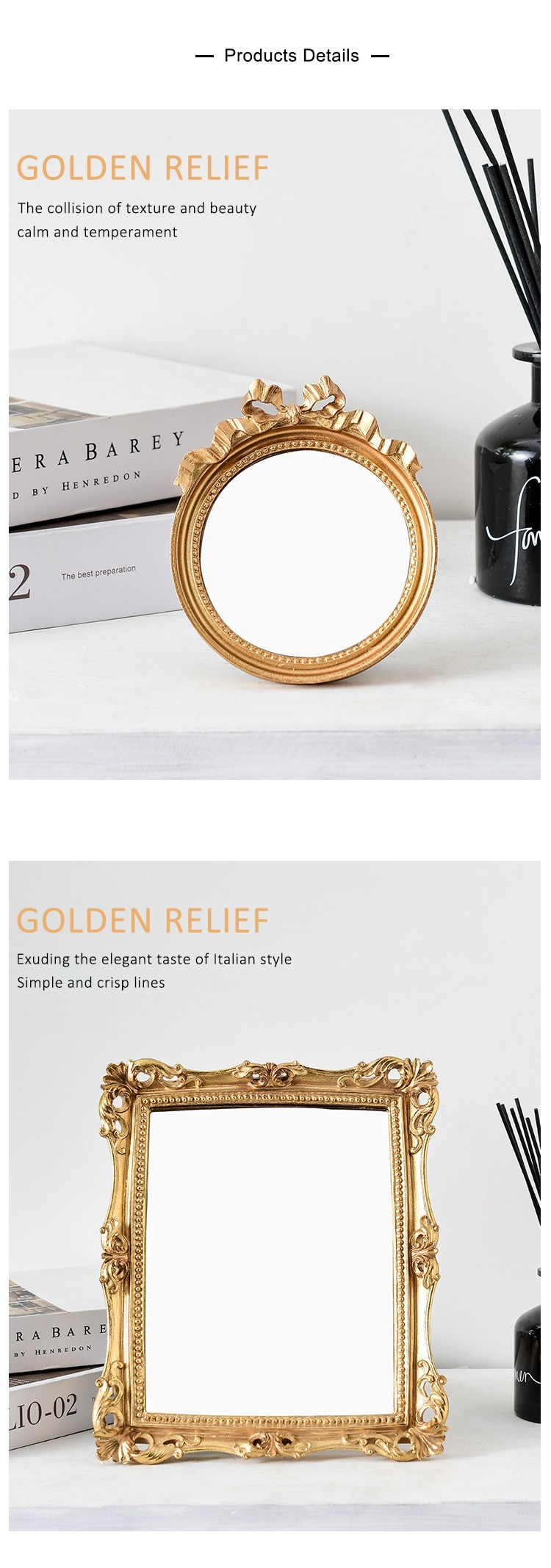 6/7 Inches European Style Vintage Golden Carved Resin Photo Frame Picture Frame Retro Art Home Decoration Ornaments