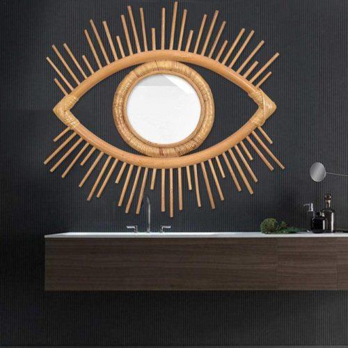Hanging Wall Rattan Eye Mirror