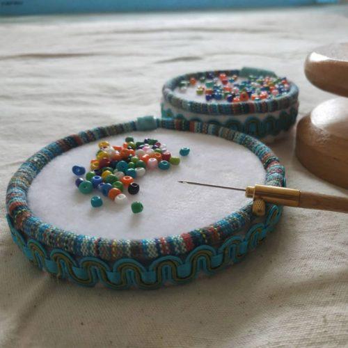 Round Wooden Beading Mat