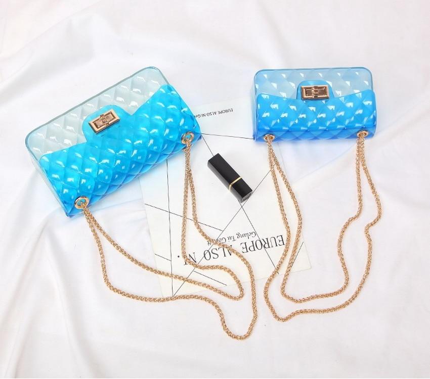 S Size 17*7*10cm Sweet Candy Jelly Handbags Women Casual Flap Bag Ladies Crossbody Shoulder Beach Bags Girls Pouch Bolsas Female