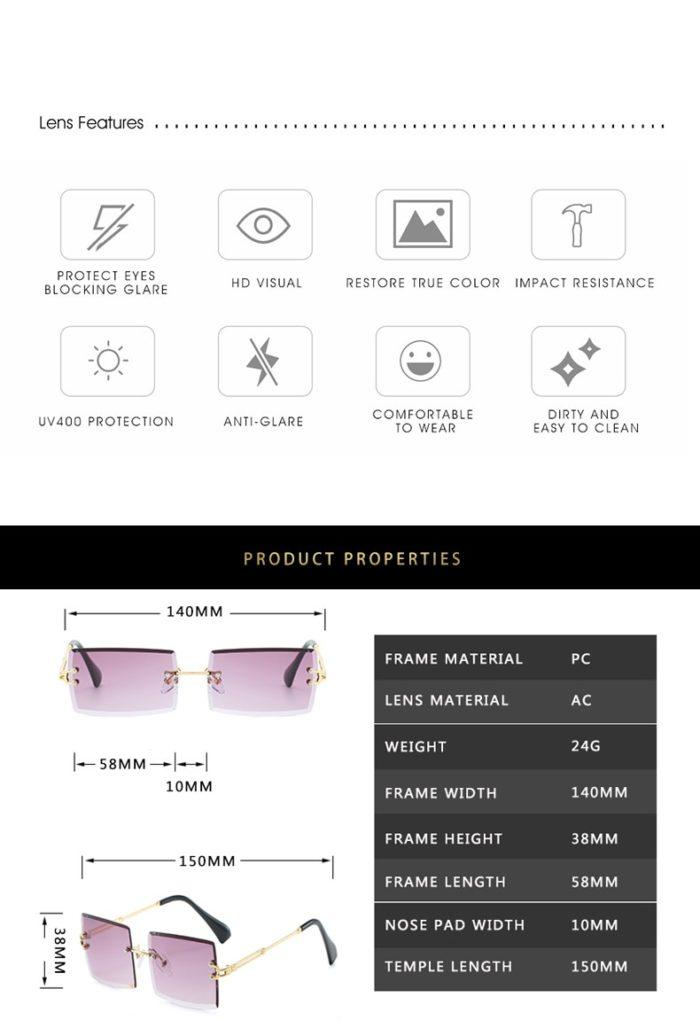 Square Rimless Sunglasses UV400 Protection