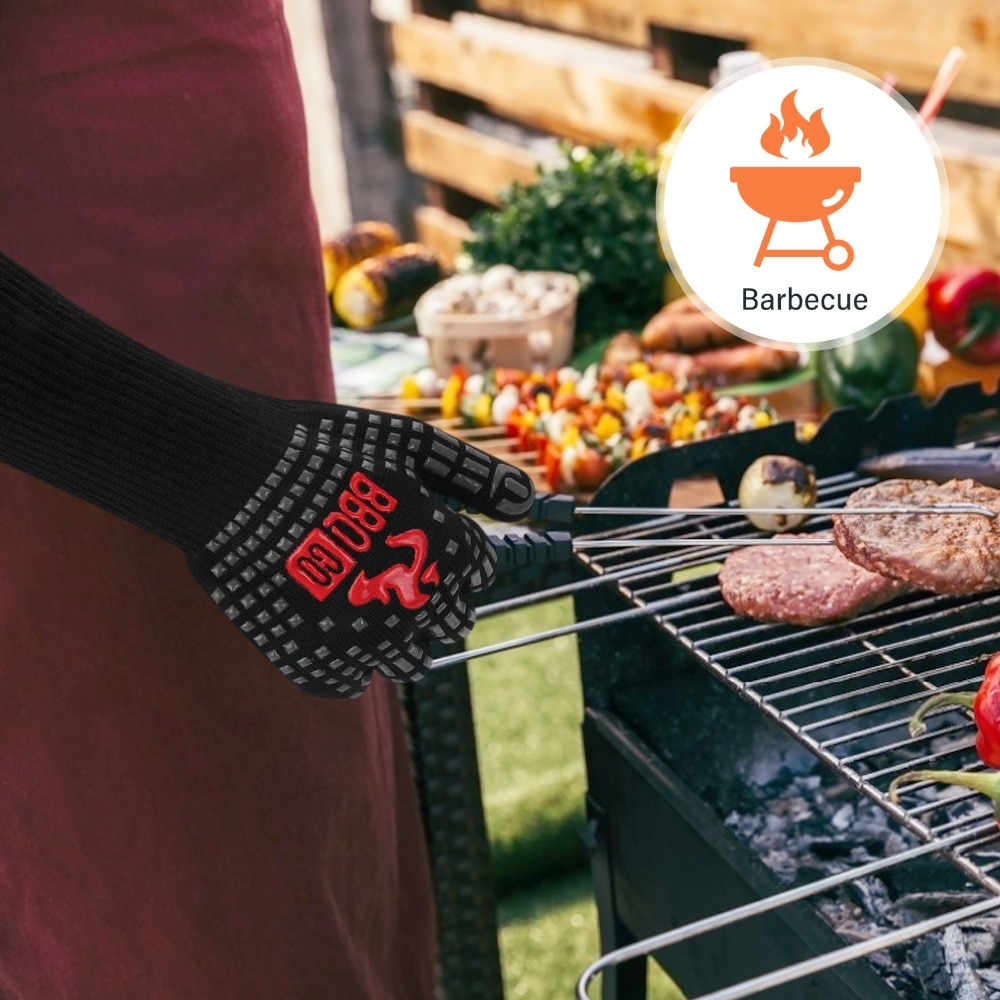 Inkbird 14inch BBQ Grill Gloves 1472℉ Extreme Heat Resistant Grilling Glove Non-Slip Silicone Insulated Grill Mitts for Cooking